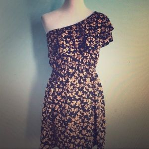Indulge one shoulder butterfly print dress